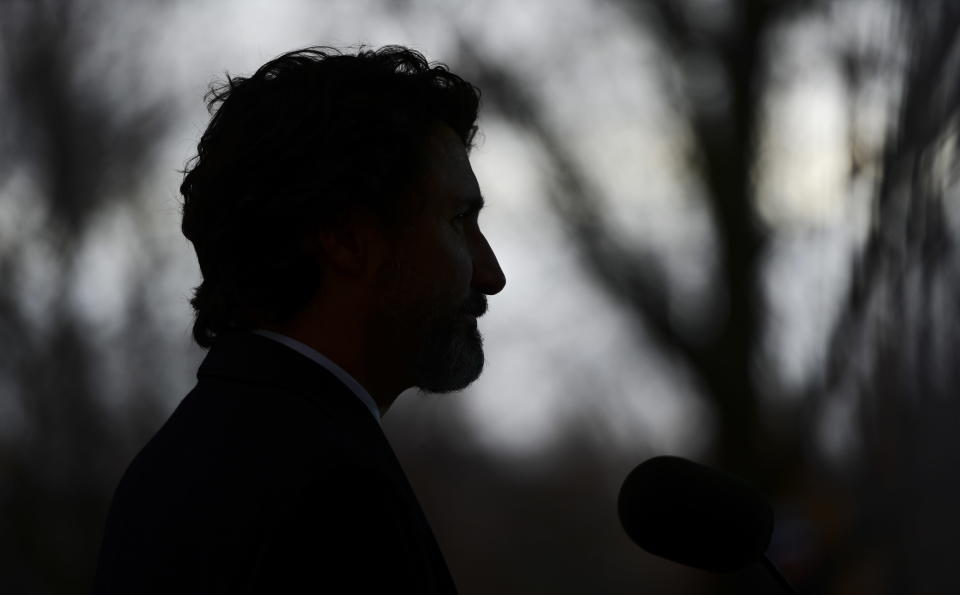 Prime Minister Justin Trudeau holds a press conference at Rideau Cottage during the COVID pandemic in Ottawa on Tuesday, Dec. 1, 2020. (Sean Kilpatrick/The Canadian Press via AP)