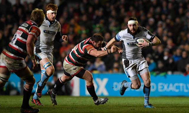 """<span class=""""element-image__caption"""">Finn Russell, right, and Glasgow overwhelmed Leicester in January and 5,000 away fans will hope they do the same at Saracens.</span> <span class=""""element-image__credit"""">Photograph: Stu Forster/Getty Images</span>"""