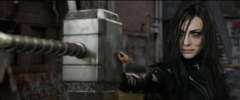 Hela destroying Mjolnir in first <i>Thor: Ragnarok</i> trailer. (Photo: Marvel Studios)