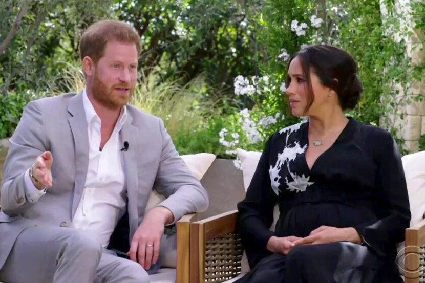 Prince Harry and his wife Meghan, on Oprah  (CBS Oprah )