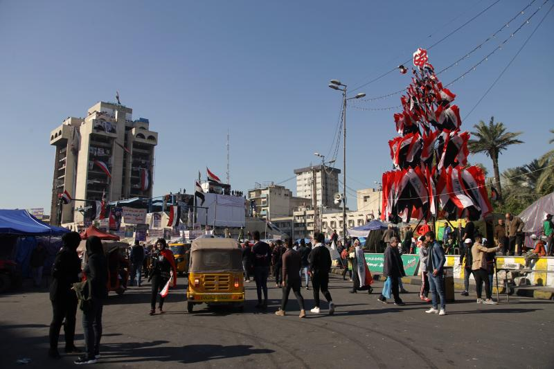 Anti-government protesters stage a sit-in at Tahrir Square during anti-government demonstrations in Baghdad, Iraq, Tuesday, Dec. 24, 2019. (AP Photo/Khalid Mohammed)