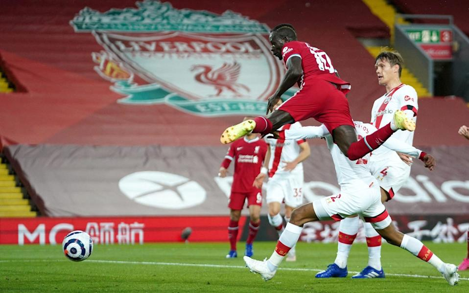 Mane leaps high to head in the opener on a nervy night for Liverpool - PA