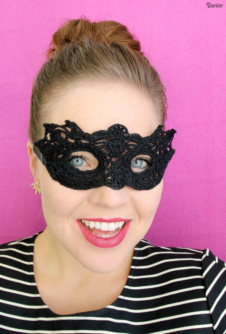 """<p>If you can crochet you'll be """"hooked"""" (see what we did there?) on this beautiful mask that comes with a free pattern.</p><p><strong>Get the tutorial at: <a href=""""http://blog.darice.com/basics/yarn-projects/diy-masquerade-mask-crochet/"""" rel=""""nofollow noopener"""" target=""""_blank"""" data-ylk=""""slk:Darice"""" class=""""link rapid-noclick-resp"""">Darice</a>.</strong></p><p><a class=""""link rapid-noclick-resp"""" href=""""https://www.amazon.com/Clover-Touch-2-75-mm-Crochet-Hooks/dp/B000QHIGQW?tag=syn-yahoo-20&ascsubtag=%5Bartid%7C10050.g.3480%5Bsrc%7Cyahoo-us"""" rel=""""nofollow noopener"""" target=""""_blank"""" data-ylk=""""slk:SHOP 2.75-mm CROCHET HOOKS"""">SHOP 2.75-mm CROCHET HOOKS</a><br></p>"""