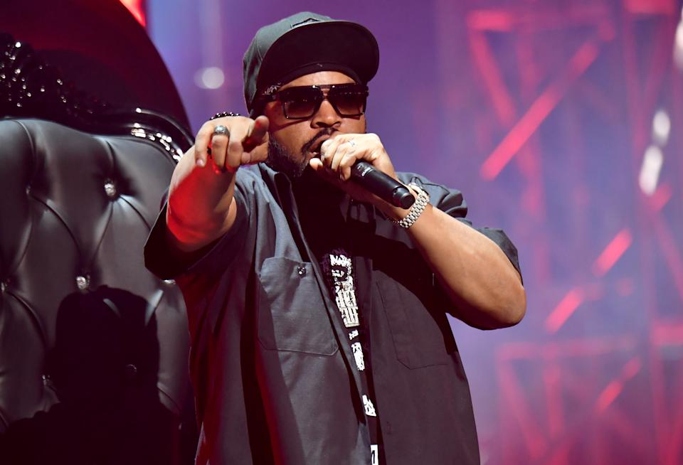 ATLANTA, GEORGIA - APRIL 17: In this image released on April 17, Ice Cube of hip-hop supergroup Mt. Westmore performs during the Triller Fight Club: Jake Paul v Ben Askren event at Mercedes-Benz Stadium in Atlanta, Georgia.   (Photo by Jeff Kravitz/Getty Images for Triller)