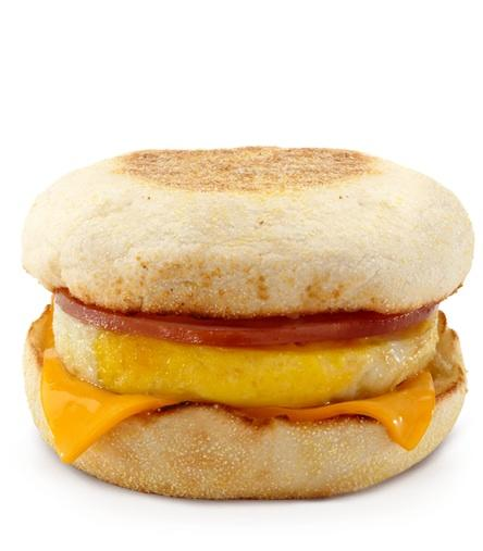 Photo by: McDonalds<br />Egg McMuffin-<br />Calories: 300 Fat: 12 grams <br> <br> Weighing in at exactly the same size as the Starbucks version, McDonald's breakfast classic isn't winning any nutritional awards. It's made with liquid margarine and a slew of unpronounceable ingredients required to formulate the disc-shaped egg. At 250 mg, it's got almost twice the amount of cholesterol than the Starbucks version, but it's still lower in fat and calories.