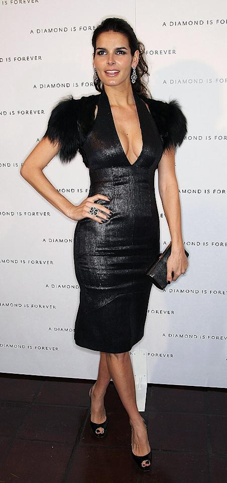 "Angie Harmon took Hollywood's Chateau Marmont by storm in a super-sexy Todd Lynn black halter dress with faux fur accents. Frederick M. Brown/<a href=""http://www.gettyimages.com/"" target=""new"">GettyImages.com</a> - February 21, 2009"