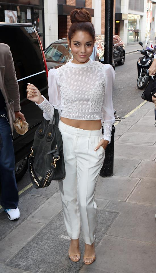 LONDON, ENGLAND - JULY 16:  Vanessa Hudgens seen arriving at KISS FM on July 16, 2013 in London, England.  (Photo by Neil P. Mockford/FilmMagic)