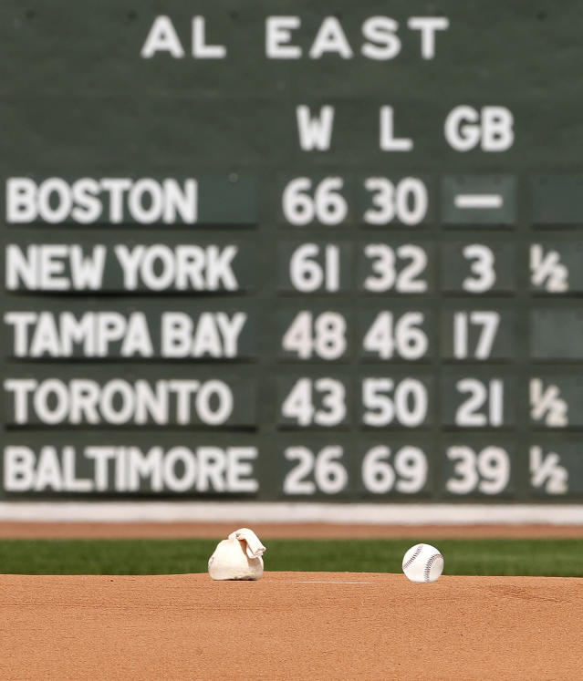 A baseball and a rosin bag sit on the mound at Fenway Park before a baseball game between the Boston Red Sox and the Toronto Blue Jays Saturday, July 14, 2018, in Boston. (AP Photo/Winslow Townson)