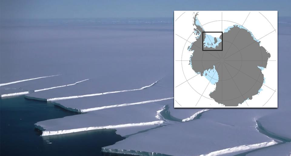 Pictured is the Antarctica ice shelf.
