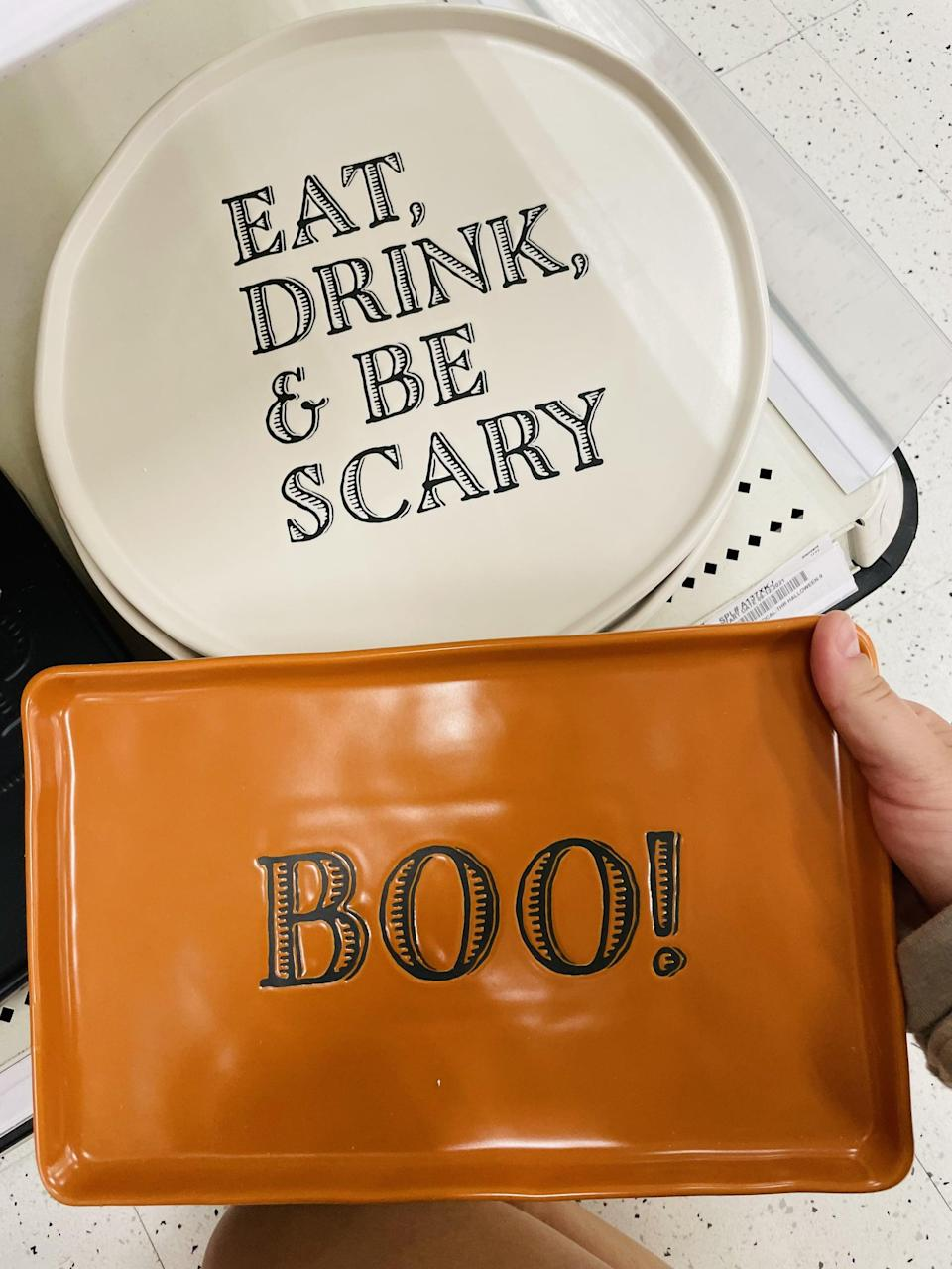 """<p>Hosting a <a class=""""link rapid-noclick-resp"""" href=""""https://www.popsugar.com/Halloween"""" rel=""""nofollow noopener"""" target=""""_blank"""" data-ylk=""""slk:Halloween"""">Halloween</a> party? This <span>Threshold Eat, Drink and Be Scary Serving Platter</span> ($15) and <span>Threshold Boo Serving Platter</span> ($15) are both stylish and seasonal. I think these will sell out fast!</p>"""