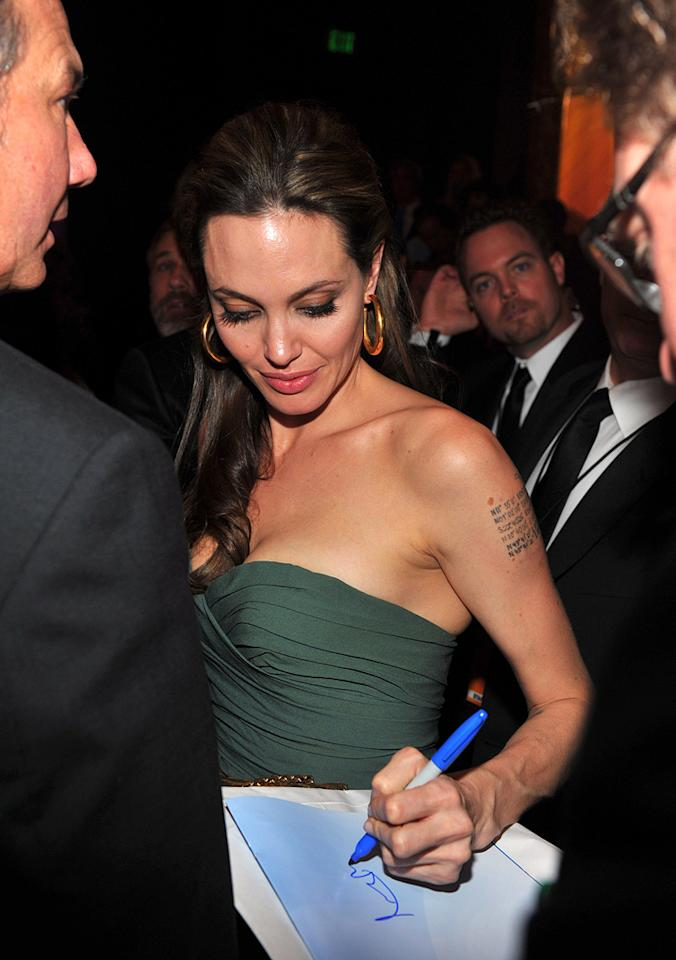 """<a href=""""http://movies.yahoo.com/movie/contributor/1800019275"""">Angelina Jolie</a> at the 62nd Annual Directors Guild of America Awards in Century City, California on January 30, 2010."""
