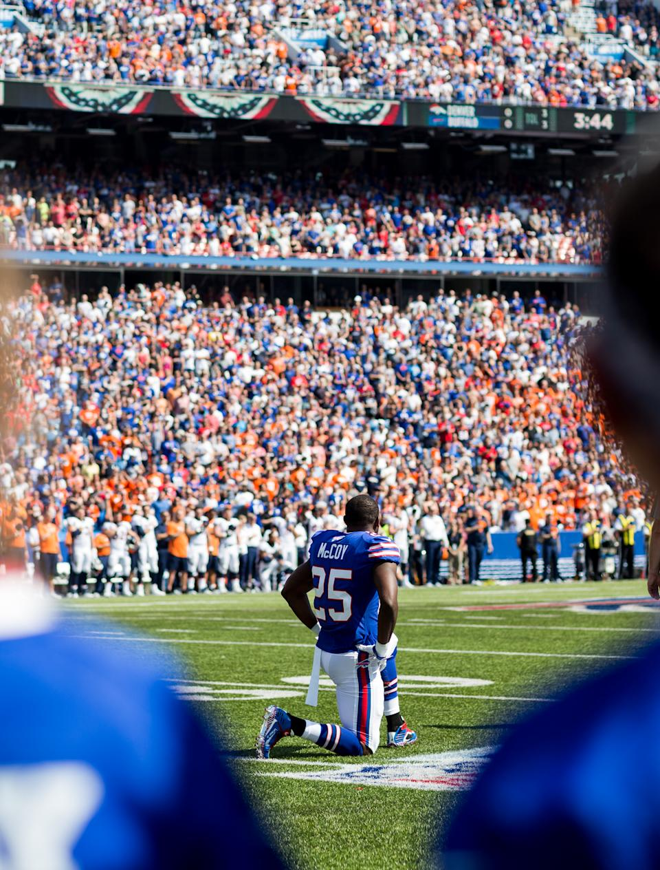 LeSean McCoy #25 of the Buffalo Bills takes a knee during the national anthem before an NFL game against the Denver Broncos on September 24, 2017 at New Era Field in Orchard Park, New York. (Photo by Bryan Bennett/Getty Images)