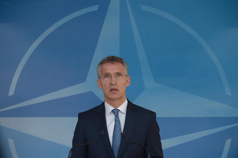 NATO chief Jens Stoltenberg speaks to the press before a meeting of foreign ministers at the alliance's headquarters in Brussels on May 19, 2016 (AFP Photo/John Thys)