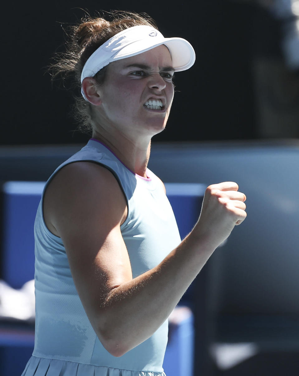 United States' Jennifer Brady reacts after winning a point against compatriot Jessica Pegula during their quarterfinal match at the Australian Open tennis championship in Melbourne, Australia, Wednesday, Feb. 17, 2021.(AP Photo/Hamish Blair)
