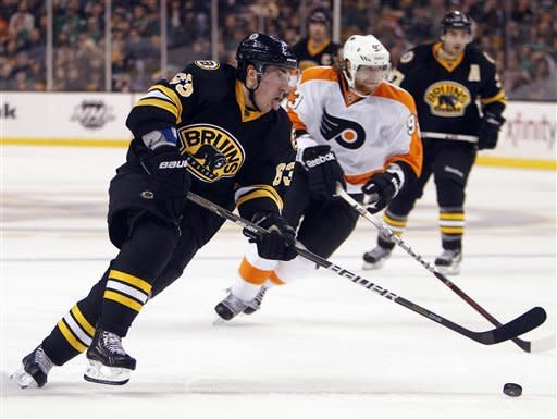 Boston Bruins' Brad Marchand (63) breaks for the net in front of Philadelphia Flyers' Jakub Voracek (93) during the second period of an NHL hockey game in Boston, Saturday, March 17, 2012. (AP Photo/Michael Dwyer)