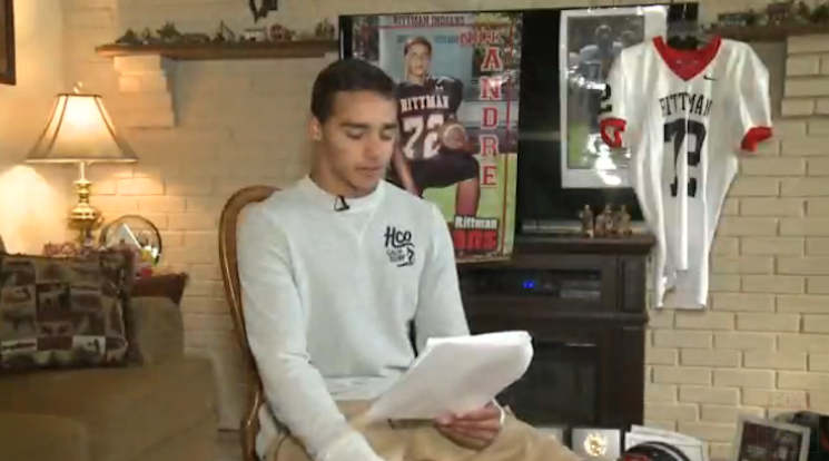 Rittman football player Nick Andre was suspended and kicked off the team for a poem — WJW screenshot