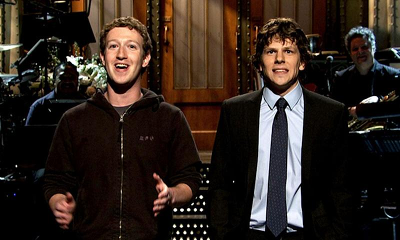 Mark Zuckerberg and Jesse Eisenberg on Saturday Night Live. (NBC)
