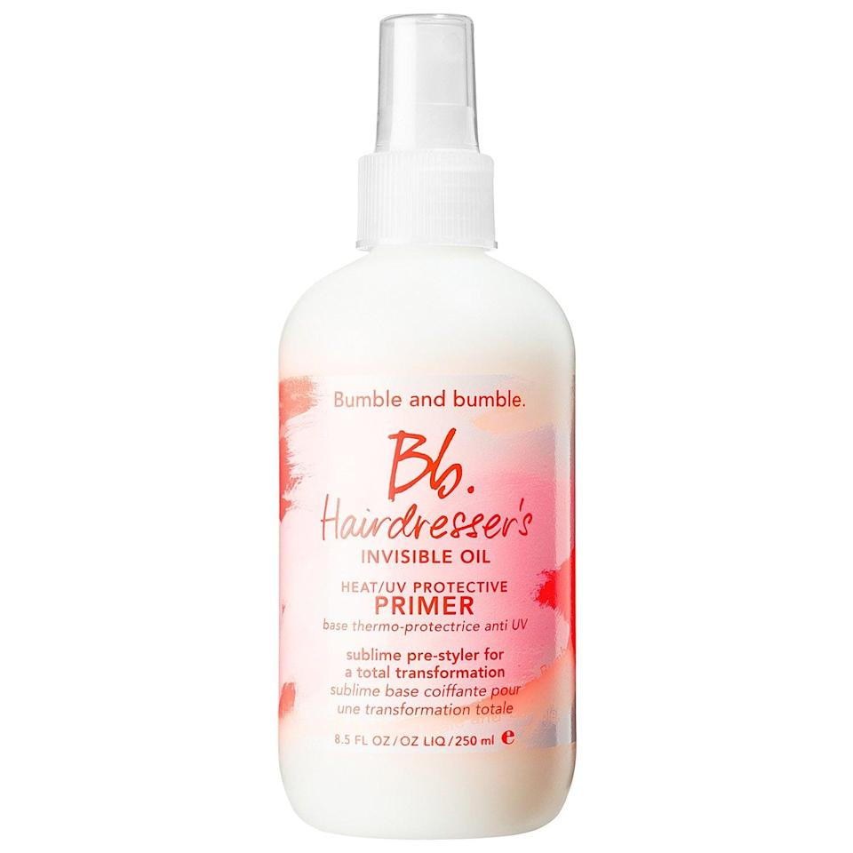 """<p><a href=""""https://www.popsugar.com/buy/Bumble-Bumble-Hairdresser-Invisible-Oil-Heat-UV-Protective-Primer-578804?p_name=Bumble%20and%20Bumble%20Hairdresser%27s%20Invisible%20Oil%20Heat%20and%20UV%20Protective%20Primer&retailer=sephora.com&pid=578804&price=13&evar1=bella%3Auk&evar9=47540523&evar98=https%3A%2F%2Fwww.popsugar.com%2Fbeauty%2Fphoto-gallery%2F47540523%2Fimage%2F47540536%2FBumble-Bumble-Hairdressers-Invisible-Oil-Heat-UV-Protective-Primer&list1=hair%2Csephora%2Cbeauty%20shopping&prop13=api&pdata=1"""" class=""""link rapid-noclick-resp"""" rel=""""nofollow noopener"""" target=""""_blank"""" data-ylk=""""slk:Bumble and Bumble Hairdresser's Invisible Oil Heat and UV Protective Primer"""">Bumble and Bumble Hairdresser's Invisible Oil Heat and UV Protective Primer</a> ($13-$28) packs in a blend of six oils to help condition coarse, chemically processed styles fresh out of the shower. And while that's all great, this product also refreshes, smooths, and protects already-dry hair at anytime necessary.</p>"""