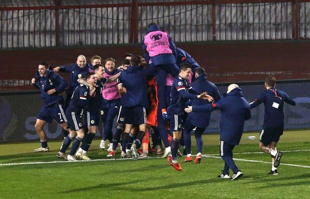 Scotland celebrate their play-off win over Serbia