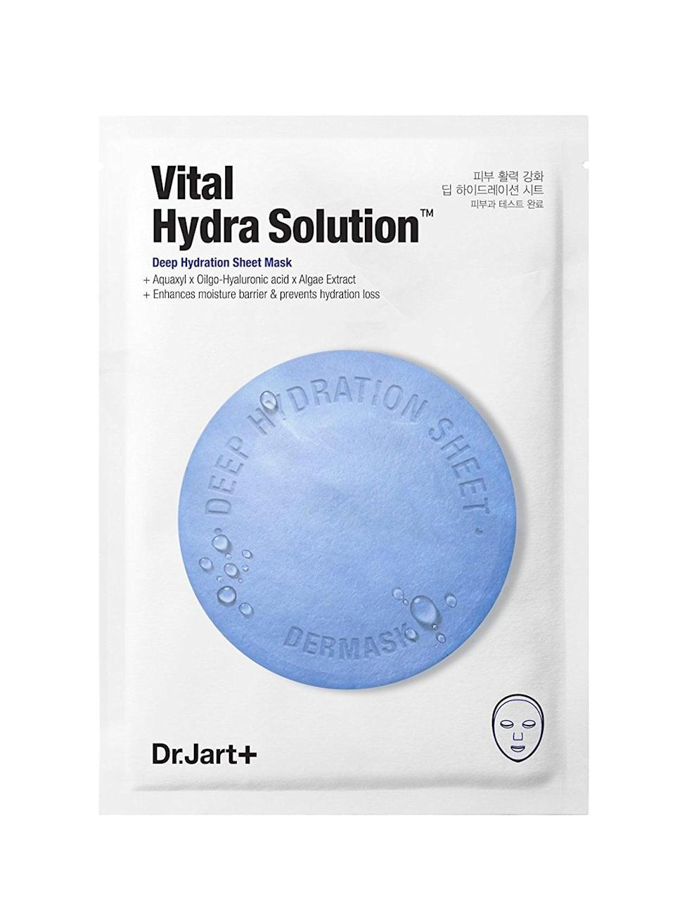 <p>The sheet mask trend is the real deal. The <span>Dr. Jart Vital Hydra Solution Sheet Mask</span> ($6) is like a revitalizing moisture surge when your skin is down and out.</p>