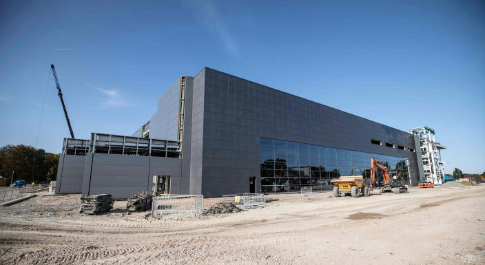 Image: The construction site is seen of the new dedicated Vaccines Manufacturing Innovation Centre (VMIC) currently under construction on the Harwell science and innovations campus near Didcot in central England (Richard Pohle / AFP - Getty Images)