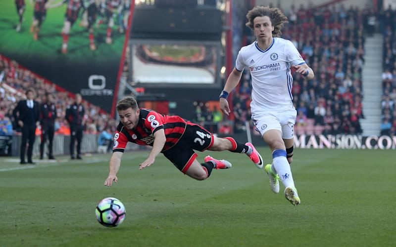 Ryan Fraser of Bournemouth and David Luiz of Chelsea