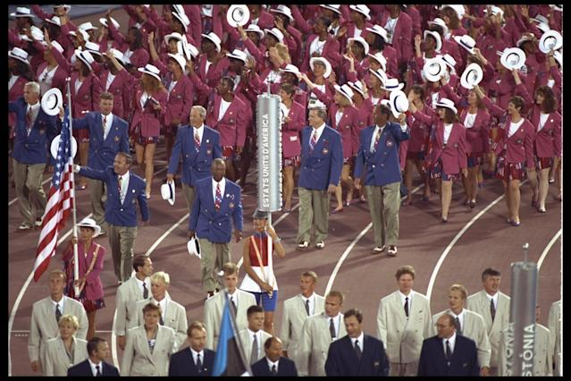 25 Jul 1992: The USA Olympic Team marches on the track during the Opening Ceremony for the 1992 Summer Olympic Games at the Olympic Stadium in Barcelona, Spain. Mandatory Credit: Mike Hewitt/Allsport