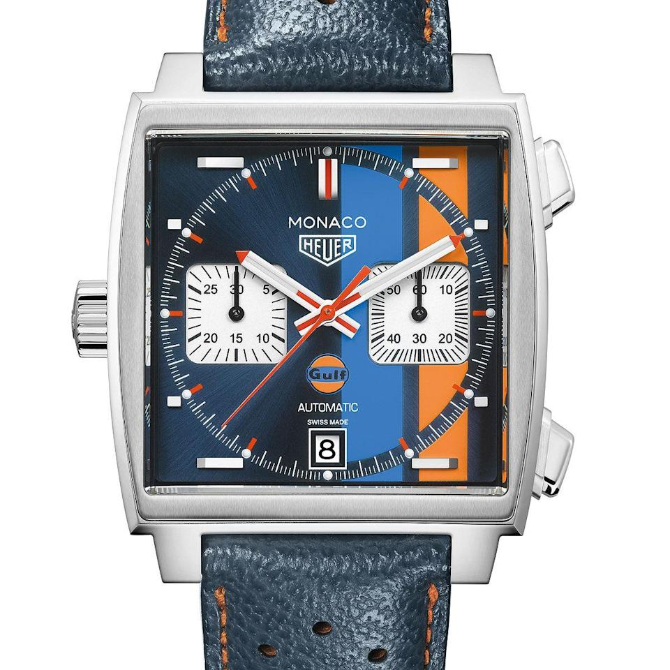 """<p>Special Edition Gulf </p><p><a class=""""link rapid-noclick-resp"""" href=""""https://go.redirectingat.com?id=127X1599956&url=https%3A%2F%2Fwww.mrporter.com%2Fen-gb%2Fmens%2Fproduct%2Ftag-heuer%2Fluxury-watches%2Faviation-watches%2Fmonaco-gulf-edition-automatic-39mm-steel-and-leather-watch-ref-no-caw211rfc6401%2F666467151991697&sref=https%3A%2F%2Fwww.menshealth.com%2Fuk%2Fstyle%2Fwatches%2Fg34617551%2Ftag-heuer-watches-men%2F"""" rel=""""nofollow noopener"""" target=""""_blank"""" data-ylk=""""slk:SHOP"""">SHOP</a></p><p>The square watch whose deathless appeal rests, to no small degree, on its association with Steve McQueen, who wore one in the 1970 film Le Mans. This limited edition was released in 2018 to commemorate the 50th anniversary of the Le Mans endurance race, the navy dial with blue/ orange stripes being a reference to the livery of the winning Ford GT40. </p><p>£4,750; <a href=""""https://www.mrporter.com/en-gb/mens/product/tag-heuer/luxury-watches/aviation-watches/monaco-gulf-edition-automatic-39mm-steel-and-leather-watch-ref-no-caw211rfc6401/666467151991697"""" rel=""""nofollow noopener"""" target=""""_blank"""" data-ylk=""""slk:mrporter.com"""" class=""""link rapid-noclick-resp"""">mrporter.com</a><br></p>"""