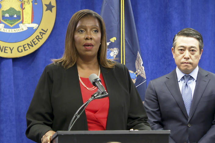 New York State Attorney General Letitia James, at a press conference in New York on Tuesday, with attorney Joon Kim, one of the lead investigators.