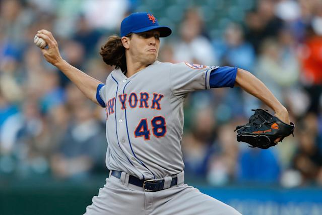SEATTLE, WA - JULY 22: Starting pitcher Jacob deGrom #48 of the New York Mets pitches in the first inning against the Seattle Mariners at Safeco Field on July 22, 2014 in Seattle, Washington. (Photo by Otto Greule Jr/Getty Images)