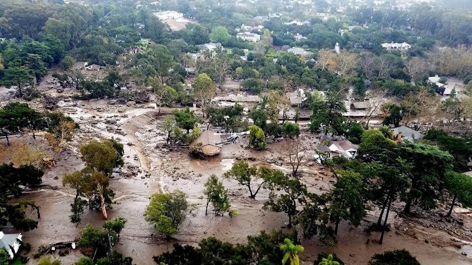 Mudflow and damage from mudslides are pictured in this aerial photo taken from a Santa Barbara County Air Support Unit Fire Copter over Montecito, California on January 10, 2018. (Photo: Matt Udkow/Santa Barbara County FD/Handout via REUTERS)