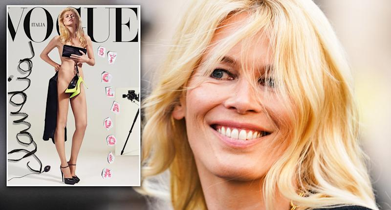 Claudia Schiffer's latest shoot marks 25 years since her first Vogue cover [Photo: Vogue Italia/Getty]
