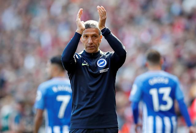 "Soccer Football - Premier League - Liverpool vs Brighton & Hove Albion - Anfield, Liverpool, Britain - May 13, 2018 Brighton manager Chris Hughton applauds fans after the match Action Images via Reuters/Carl Recine EDITORIAL USE ONLY. No use with unauthorized audio, video, data, fixture lists, club/league logos or ""live"" services. Online in-match use limited to 75 images, no video emulation. No use in betting, games or single club/league/player publications. Please contact your account representative for further details."