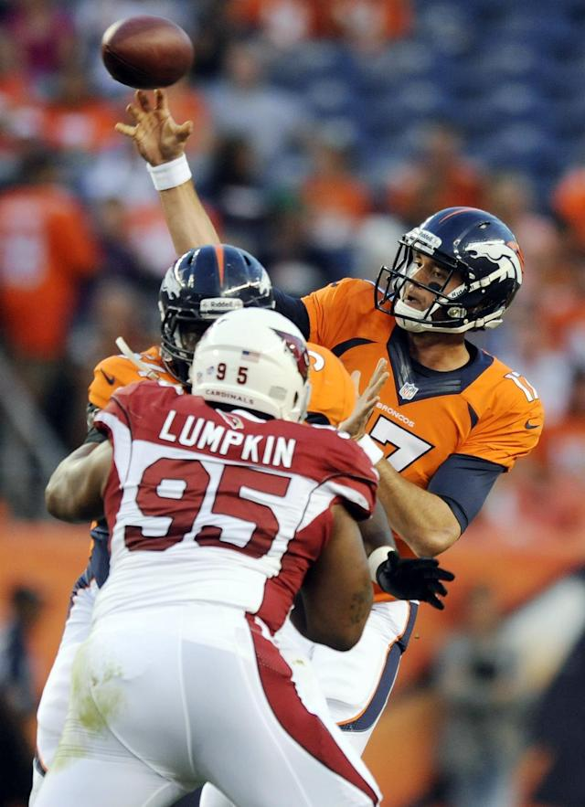 Denver Broncos quarterback Brock Osweiler throws a pass during the first half of a preseason NFL football game against the Arizona Cardinals, Thursday, Aug. 29, 2013, in Denver. (AP Photo/Jack Dempsey)