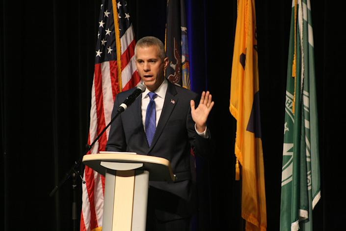 U.S. Rep. Anthony Brindisi, D-Utica, speaks during a debate in the race for New York's 22nd Congressional District at Mohawk Valley Community College on Oct. 26.