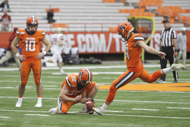 File- This Nov. 2, 2019, file photo shows Syracuse's Andre Szmyt kicking before an NCAA college football game against Boston College in Syracuse, N.Y. Syracuse has a terrific 1-2 punch in punter Sterling Hofrichter and Szmyt. Together theyve helped the Orange excel on special teams for a second straight season. Hofrichter has landed 93 of his 255 career punts inside the 20-yard line with only 13 touchbacks. (AP Photo/Nick Lisi, File)