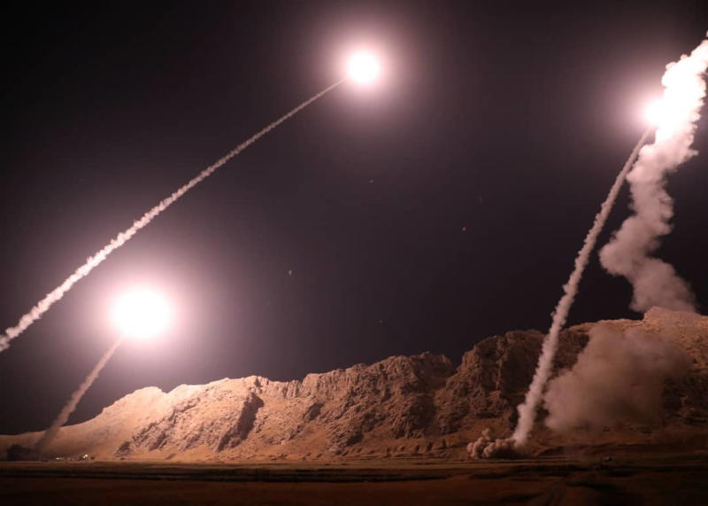 Pictured is a file photo of missiles fired from city of Kermanshah in western Iran.
