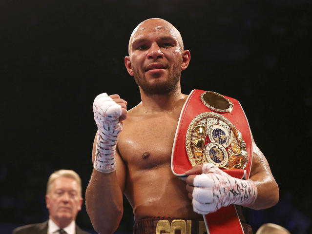 Caleb Truax celebrates after beating James DeGale in their IBF super middleweight championship bout at the Copper Box Arena in London on Dec. 9, 2017. (AP)