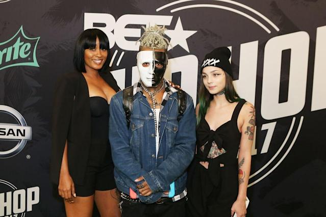 XXXTentacion (center) attends the BET Hip Hop Awards 2017 on Oct. 6, 2017. (Photo by Thaddaeus McAdams/FilmMagic)