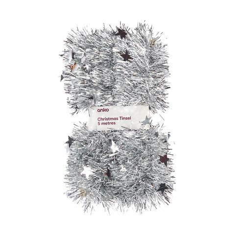 Add a bit of glitz with some silver tinsel, $5 from Kmart. Photo: Kmart.