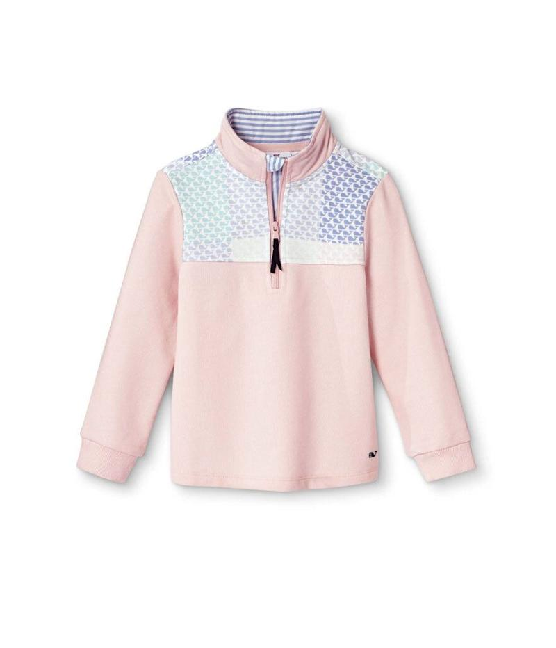Vineyard Vines for Target Girls' 1/4 Zip Pullover Patchwork Whale Sweatshirt (Photo: Target)