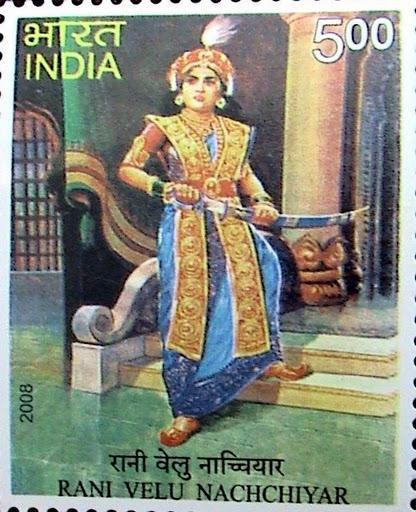 <p>Rani Velu Nachiyar (1730–1796), was a queen of Indian Sivaganga from 1760 to 1790. She was the first queen to fight against the British in India. Rani Nachiyar was trained in war match weapons usage, martial arts like Valari, Silambam (fighting using stick), horse riding and archery. She was a scholar in many languages and she had proficiency with languages like French, English and Urdu. Source: Live India . Com </p>