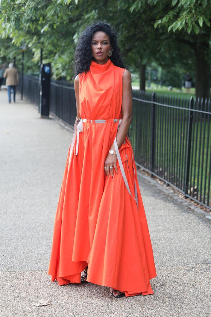 <p>Another stand-alone dress that's all about high-impact color. </p>