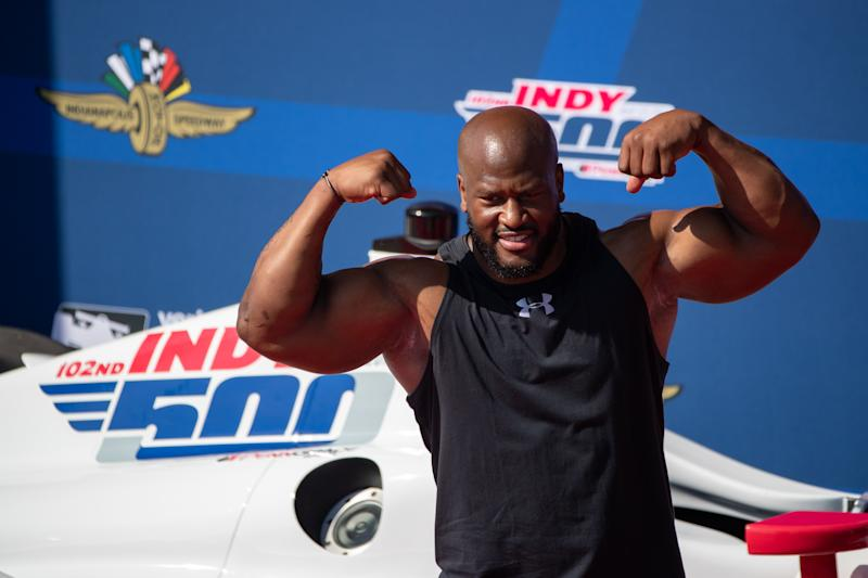 Former NFL defensive lineman James Harrison, seen here at the 2018 Indianapolis 500, is expected to be called as a witness. (Getty)