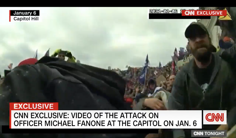 Michael Fanone, a US Capitol police officer, was severely injured during the 6 January riot at the Capitol. (CNN)