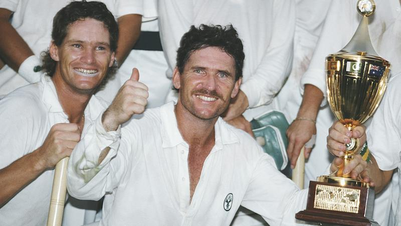 Dean Jones and Allan Border, pictured here after Australia's World Cup triumph in 1987.