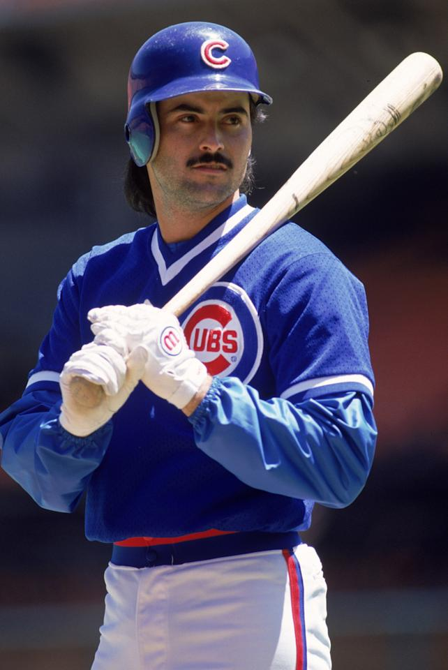 SAN FRANCISCO - JANUARY 1: Rafael Palmeiro #25 of the Chicago Cubs prepares to bat during their game against the San Francisco Giants at Candlestick Park in San Francisco, California on January 1, 1988. (Photo by: Otto Greule Jr/Getty Images)