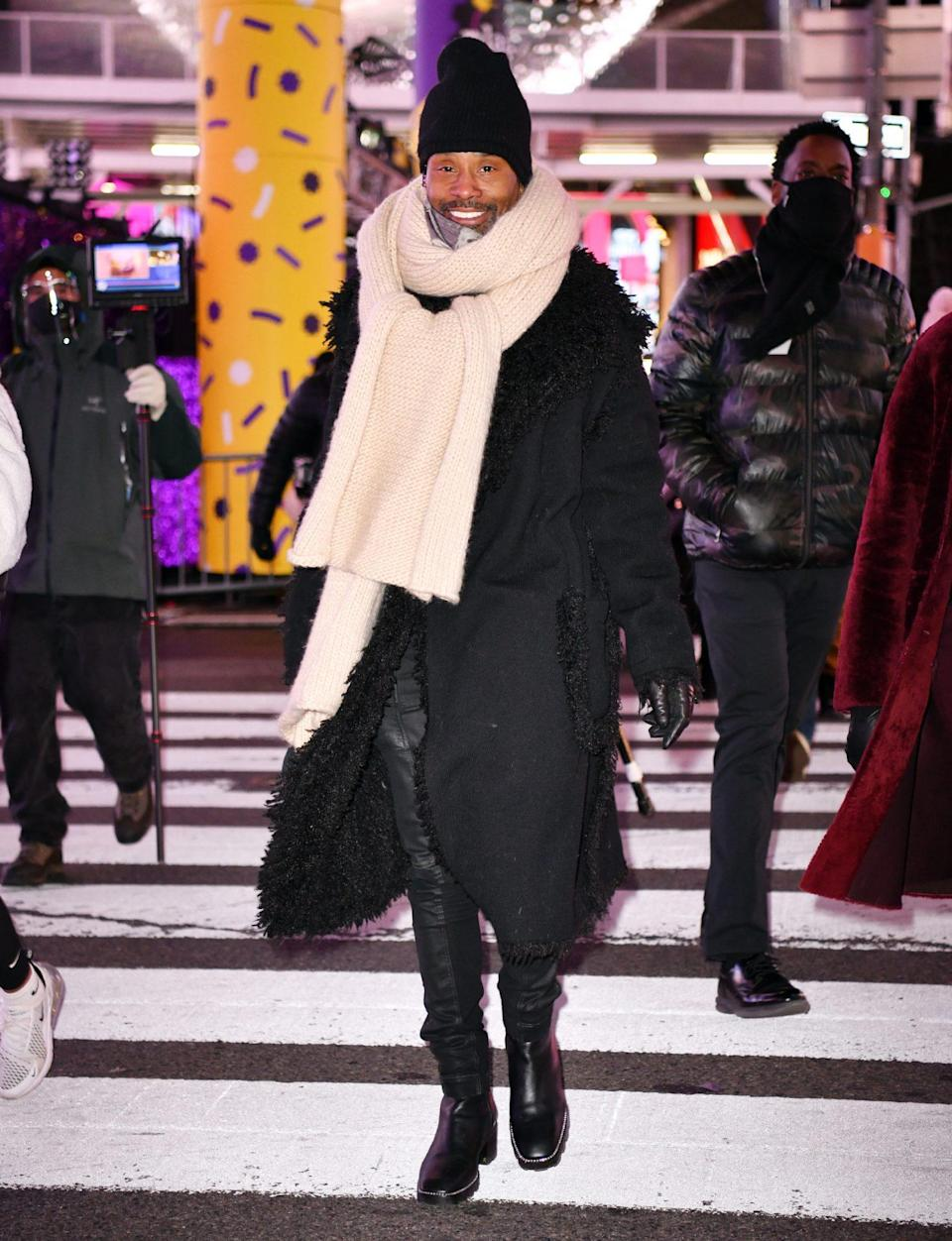 <p>Billy Porter sports a big smile on Tuesday during rehearsals for ABC's <em>Dick Clark's New Year's Rockin' Eve </em>in New York City's Times Square.</p>
