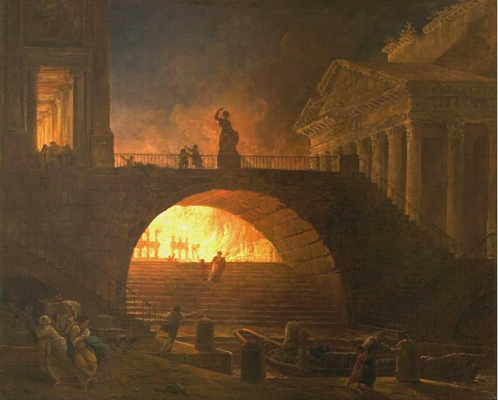 <p>great-fire-rome-1.jpg</p><p>The flames that changed the history of an empire. The Great Fire of Rome, as portrayed in an 18th-century painting by the French artist, Hubert Robert.</p> (MuMA)