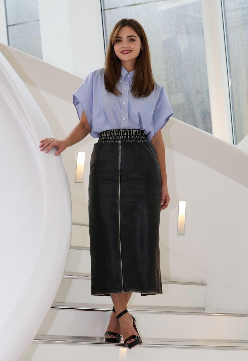 <p>'The Cry' and 'Victoria' actress wore an oversized shirt, tucked into a pencil skirt. Both by Italian label Miu Miu. <em>[Photo: Getty]</em> </p>